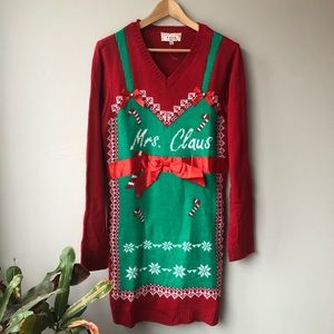 POOF New York Mrs. Claus Christmas Sweater Dress